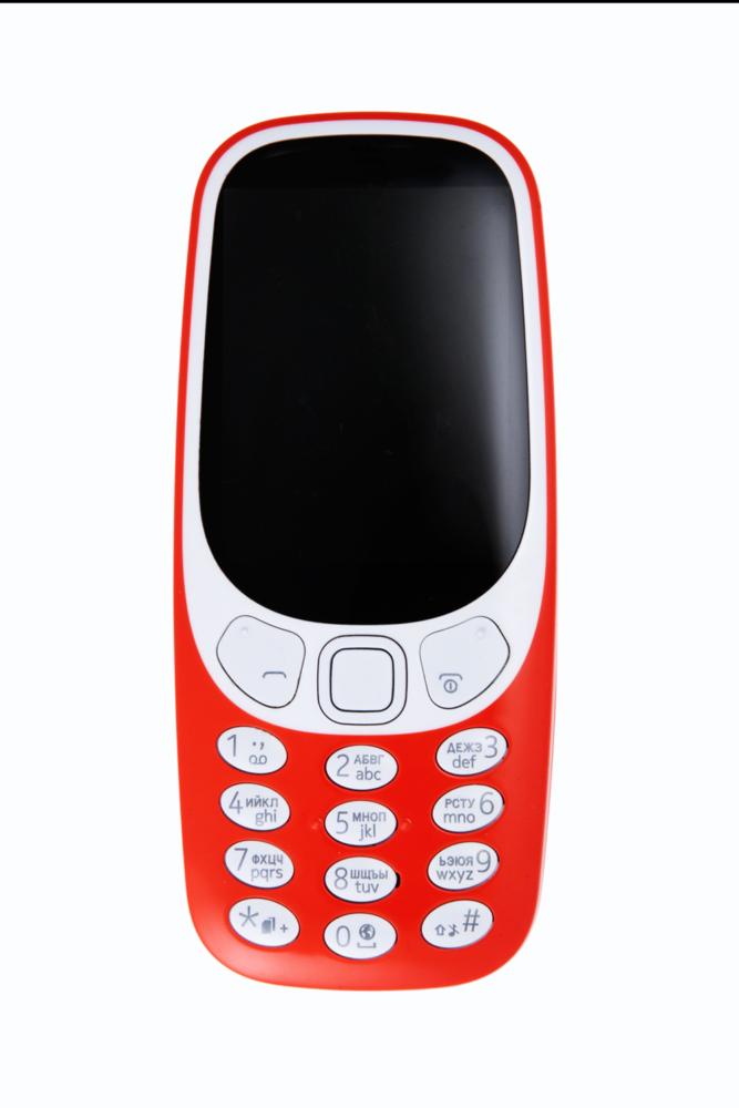 кнопочный телефон, красный, фото на белом фоне для интернет магазина