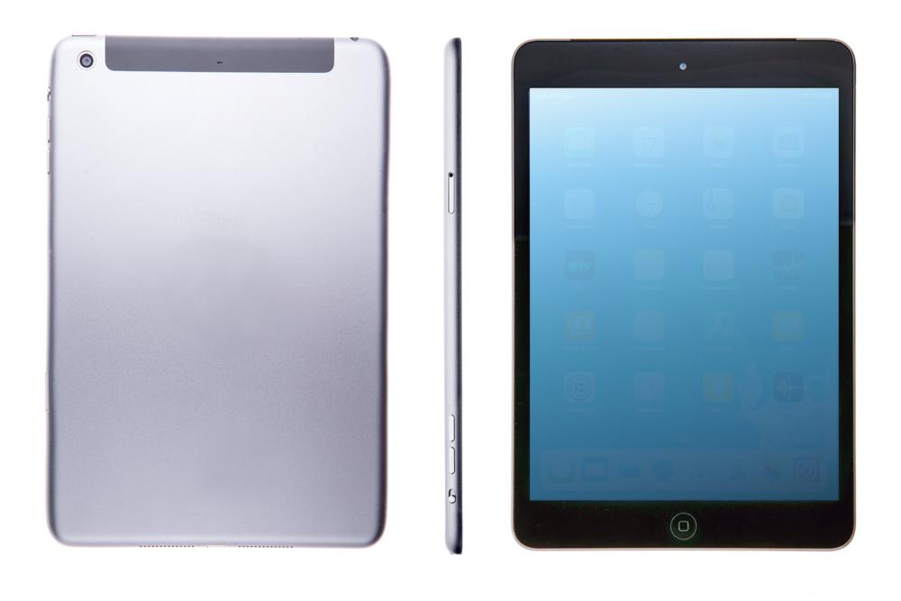 silver tablet, планшет на белом фоне