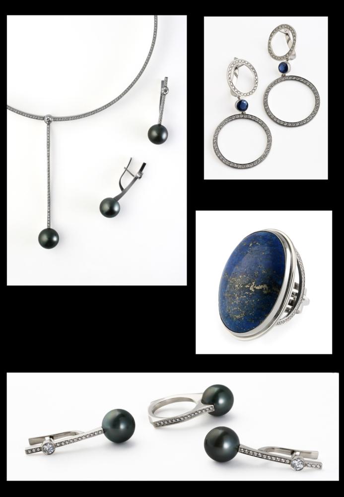 Колье и серьги с чёрным жемчугом и бриллиантами