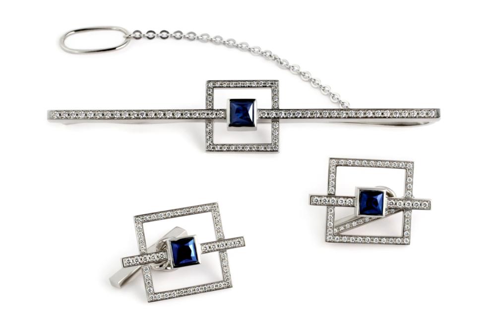 мужская заколка и запонки с бриллиантами